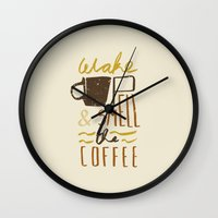 coffee Wall Clocks featuring Coffee by David