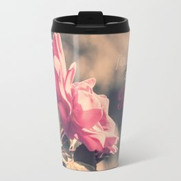 Hope (Hibiscus Pink Rose with Inspirational Quote) Travel Mug