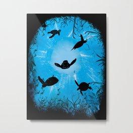 Turtle World Metal Print