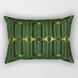 Gold Emerald Pattern Rectangular Pillow