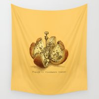 clockwork orange Wall Tapestries featuring Steampunk Orange  (color option) by Eric Fan