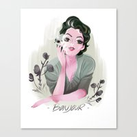 bonjour Canvas Prints featuring Bonjour by LisaArtWork