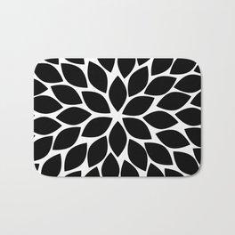 Black & White Chrysanthemum Bath Mat