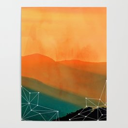 Orange Geometric Mountains Poster