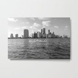 I'm in Miami - Black and white Metal Print