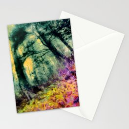 abstract misty forest painting hvhd hftop Stationery Cards