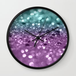 Aqua Purple MERMAID Girls Glitter #2 #shiny #decor #art #society6 Wall Clock