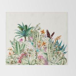 Blooming in the cactus Throw Blanket