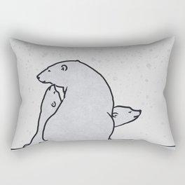 Art print: The polar bear family and the snow flakes Rectangular Pillow