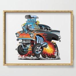 Classic hotrod 57 gasser drag racing muscle car cartoon Serving Tray