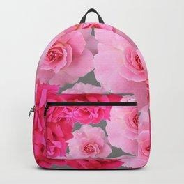 PINK ROSE FLOWERS 0N GREY Backpack