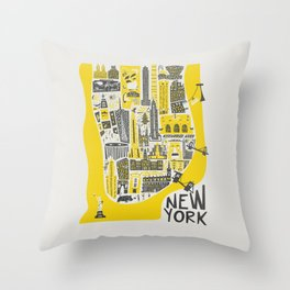Manhattan New York Map Throw Pillow