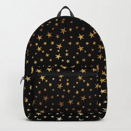 Mini Stars - Gold on Black Backpack