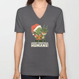Merry Christmas Humans Alien Gift Aliens Unisex V-Neck