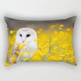 Little Owlet in Flowers (Color) Rectangular Pillow