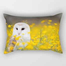 Little Owlet in Flowers (Color) Rectangular Pillow