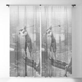 Tough Par Four - Golf Game at 1000 feet black and white photograph Sheer Curtain