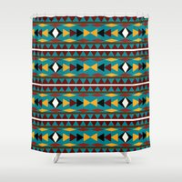 navajo Shower Curtains featuring Navajo Teal Pattern Art by Christina Rollo