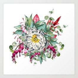 Gentille Peony, watercolor handpainted clipart, floral, flower, design, stylish, wedding, invitation Art Print