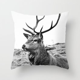 The Stag on the hill - b/w Throw Pillow