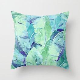Banana Tree Leaves | Tropical  BLUE Watercolor Throw Pillow