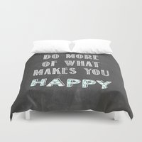 calendars Duvet Covers featuring Quote, inspiration chalk board  by Shabby Studios Design & Illustrations ..