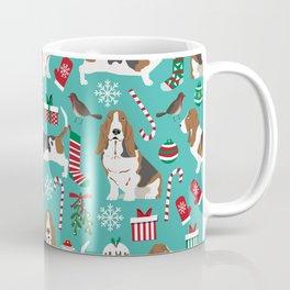 Basset Hound christmas pattern print pet friendly dog breed art for holiday decor Coffee Mug