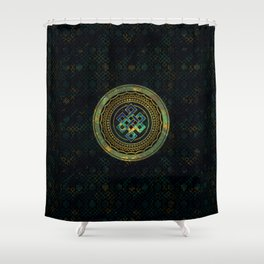 Marble and Abalone Endless Knot  in Mandala Decorative Shape Shower Curtain