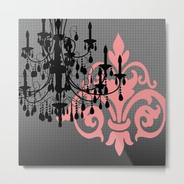 Chandelier & Damask Silhouettes Metal Print