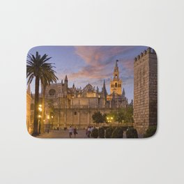 Seville, The Cathedral at dusk Bath Mat