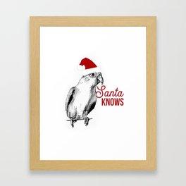 "Christmas Bird ""Santa Knows"" Framed Art Print"