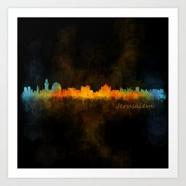 Jerusalem City Skyline Hq v4 Art Print