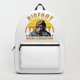 Bigfoot on vacation in the pine trees forest Backpack