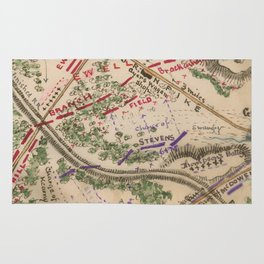 Vintage Map of The Battle of Chantilly (1865) Rug