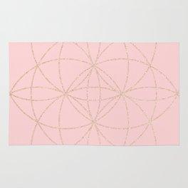 pink rose gold mandala pattern Rug