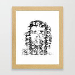 Che Guevara Portrait in Words Framed Art Print