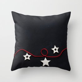 Stars on a Red Rope (Color) Throw Pillow