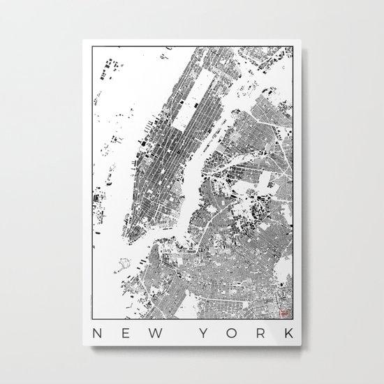 New York Map Schwarzplan Only Buildings Metal Print