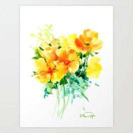California Poppies, floral home decor Art Print