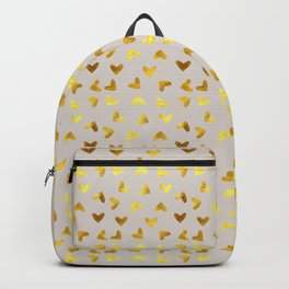 gold heart pattern gray Backpack