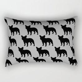 Black French Bulldog Silhouette Rectangular Pillow