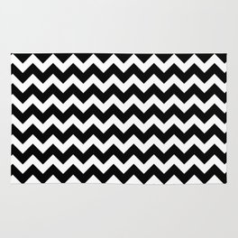 Black Chevron - Baby Stimulation Pattern Rug