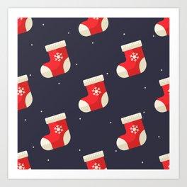 Red Christmas Stocking Pattern Art Print