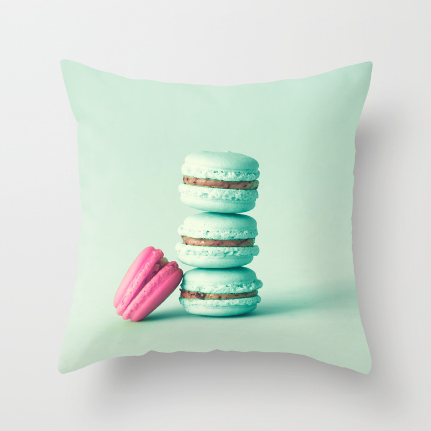 Tower Of Mint Macarons Macaroons Over Green Mint Throw Pillow By Andreka Society6