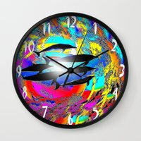 dolphins Wall Clocks featuring Dolphins by JT Digital Art