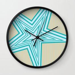 Geometric Blue Star Art Deco Wall Clock