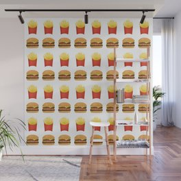 Burgers and Fries Pattern Wall Mural