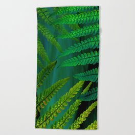 Forest Fern Green Beach Towel
