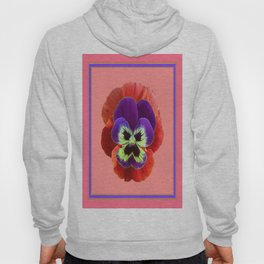 Coral-pink Color Purple Pansy Art Desighn Hoody