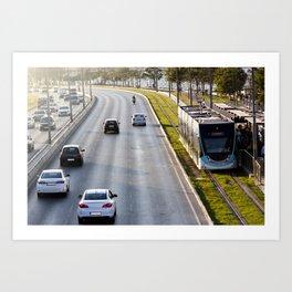 Cars and tram at seaside in Izmir (Turkey) Art Print